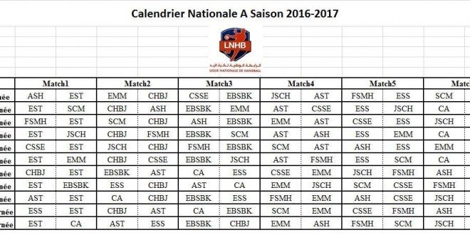 calendrier nationale A 16-17